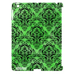 Damask1 Black Marble & Green Watercolor (r) Apple Ipad 3/4 Hardshell Case (compatible With Smart Cover)