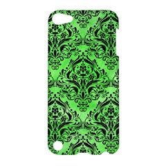 Damask1 Black Marble & Green Watercolor (r) Apple Ipod Touch 5 Hardshell Case