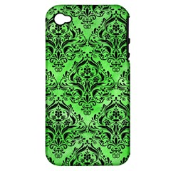 Damask1 Black Marble & Green Watercolor (r) Apple Iphone 4/4s Hardshell Case (pc+silicone)