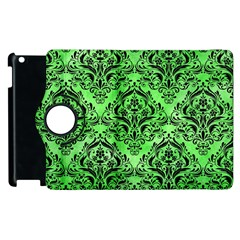 Damask1 Black Marble & Green Watercolor (r) Apple Ipad 3/4 Flip 360 Case