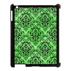 Damask1 Black Marble & Green Watercolor (r) Apple Ipad 3/4 Case (black)