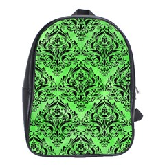 Damask1 Black Marble & Green Watercolor (r) School Bag (xl)