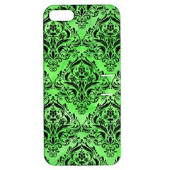 Damask1 Black Marble & Green Watercolor (r) Apple Iphone 5 Hardshell Case With Stand
