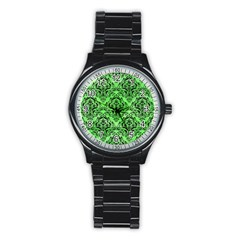 Damask1 Black Marble & Green Watercolor (r) Stainless Steel Round Watch