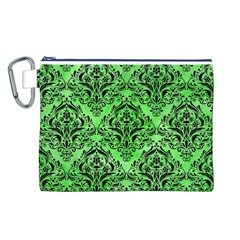 Damask1 Black Marble & Green Watercolor (r) Canvas Cosmetic Bag (l)