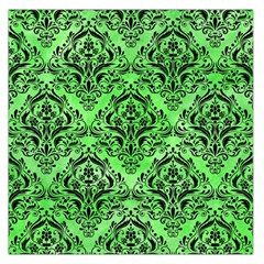 Damask1 Black Marble & Green Watercolor (r) Large Satin Scarf (square)
