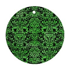 Damask2 Black Marble & Green Watercolor Ornament (round)
