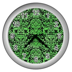 Damask2 Black Marble & Green Watercolor Wall Clocks (silver)