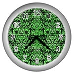 DAMASK2 BLACK MARBLE & GREEN WATERCOLOR Wall Clocks (Silver)  Front