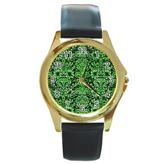 Damask2 Black Marble & Green Watercolor Round Gold Metal Watch