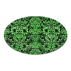 Damask2 Black Marble & Green Watercolor Oval Magnet