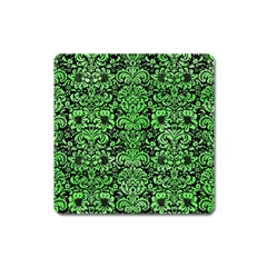 Damask2 Black Marble & Green Watercolor Square Magnet