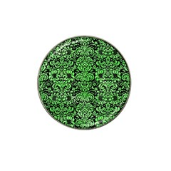 Damask2 Black Marble & Green Watercolor Hat Clip Ball Marker