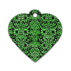 Damask2 Black Marble & Green Watercolor Dog Tag Heart (one Side)