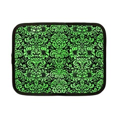 Damask2 Black Marble & Green Watercolor Netbook Case (small)