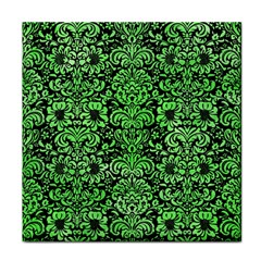 Damask2 Black Marble & Green Watercolor Face Towel