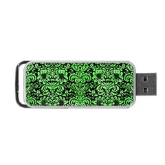 Damask2 Black Marble & Green Watercolor Portable Usb Flash (one Side)
