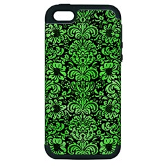 Damask2 Black Marble & Green Watercolor Apple Iphone 5 Hardshell Case (pc+silicone)