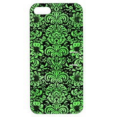 Damask2 Black Marble & Green Watercolor Apple Iphone 5 Hardshell Case With Stand