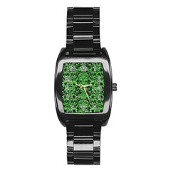Damask2 Black Marble & Green Watercolor Stainless Steel Barrel Watch