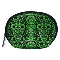 Damask2 Black Marble & Green Watercolor Accessory Pouches (medium)