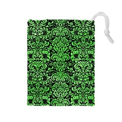 Damask2 Black Marble & Green Watercolor Drawstring Pouches (large)