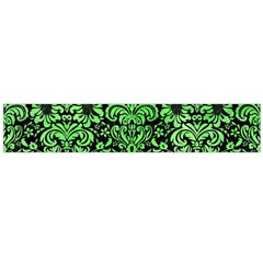 Damask2 Black Marble & Green Watercolor Flano Scarf (large)