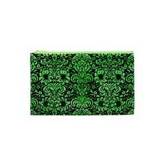 Damask2 Black Marble & Green Watercolor Cosmetic Bag (xs)