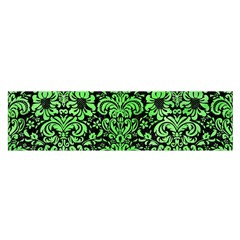 Damask2 Black Marble & Green Watercolor Satin Scarf (oblong)