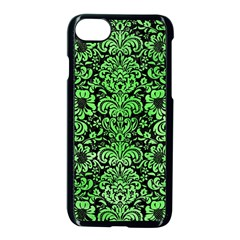 Damask2 Black Marble & Green Watercolor Apple Iphone 7 Seamless Case (black)