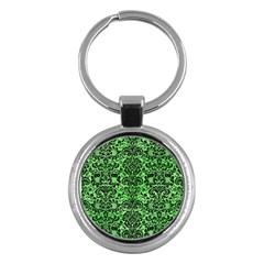 Damask2 Black Marble & Green Watercolor (r) Key Chains (round)