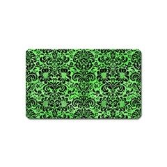 Damask2 Black Marble & Green Watercolor (r) Magnet (name Card)