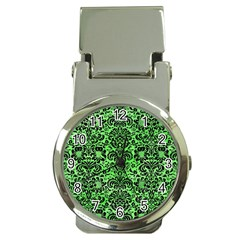 Damask2 Black Marble & Green Watercolor (r) Money Clip Watches