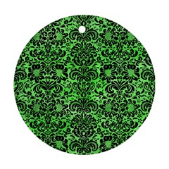Damask2 Black Marble & Green Watercolor (r) Round Ornament (two Sides)
