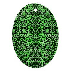 Damask2 Black Marble & Green Watercolor (r) Oval Ornament (two Sides)