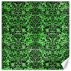 Damask2 Black Marble & Green Watercolor (r) Canvas 20  X 20