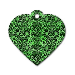 Damask2 Black Marble & Green Watercolor (r) Dog Tag Heart (two Sides)