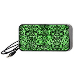 Damask2 Black Marble & Green Watercolor (r) Portable Speaker