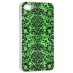 Damask2 Black Marble & Green Watercolor (r) Apple Iphone 4/4s Seamless Case (white)