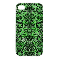 Damask2 Black Marble & Green Watercolor (r) Apple Iphone 4/4s Hardshell Case