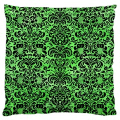 Damask2 Black Marble & Green Watercolor (r) Large Cushion Case (two Sides)