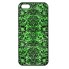 Damask2 Black Marble & Green Watercolor (r) Apple Iphone 5 Seamless Case (black)