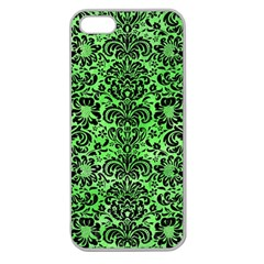 Damask2 Black Marble & Green Watercolor (r) Apple Seamless Iphone 5 Case (clear)