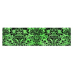 Damask2 Black Marble & Green Watercolor (r) Satin Scarf (oblong)