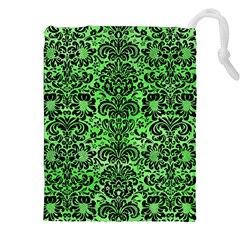 Damask2 Black Marble & Green Watercolor (r) Drawstring Pouches (xxl)