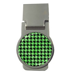 Houndstooth1 Black Marble & Green Watercolor Money Clips (round)