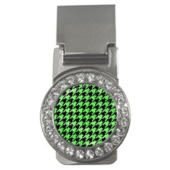 Houndstooth1 Black Marble & Green Watercolor Money Clips (cz)