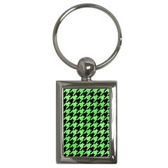 Houndstooth1 Black Marble & Green Watercolor Key Chains (rectangle)