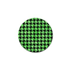 Houndstooth1 Black Marble & Green Watercolor Golf Ball Marker (4 Pack)