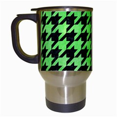 Houndstooth1 Black Marble & Green Watercolor Travel Mugs (white)